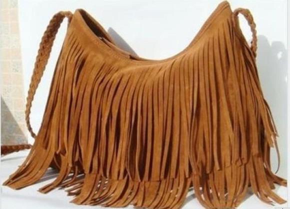 bag brown bag tassels hippie hippie chic