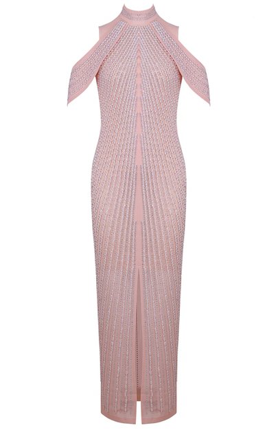 Cold Shoulder Embellished Maxi Dress Pink