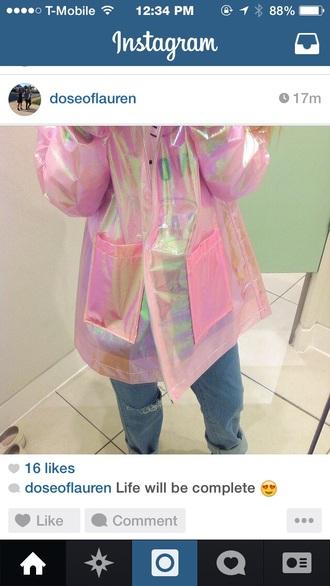 pastel pink plastic raincoat