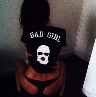 t-shirt top bad girls club sweater tank top pajamas black t-shirt sexy shirt black shirt ski mask cute black bad girl shirts gangsta
