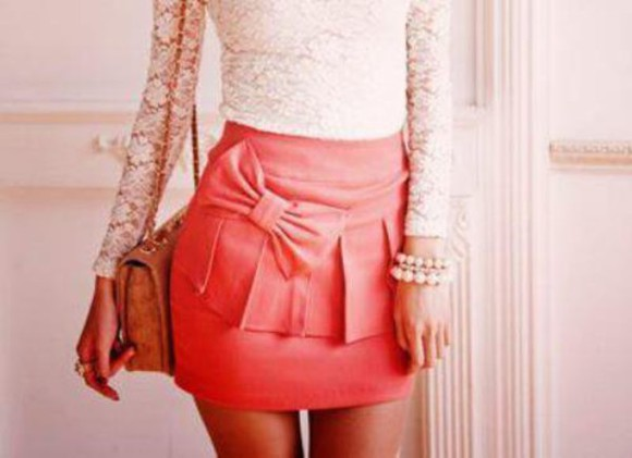 dentelle skirt bag pink noeud