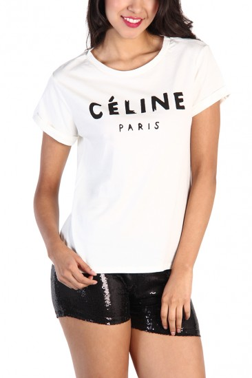 OMG Celine Print Top - White