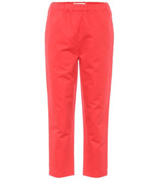 cropped cotton red pants