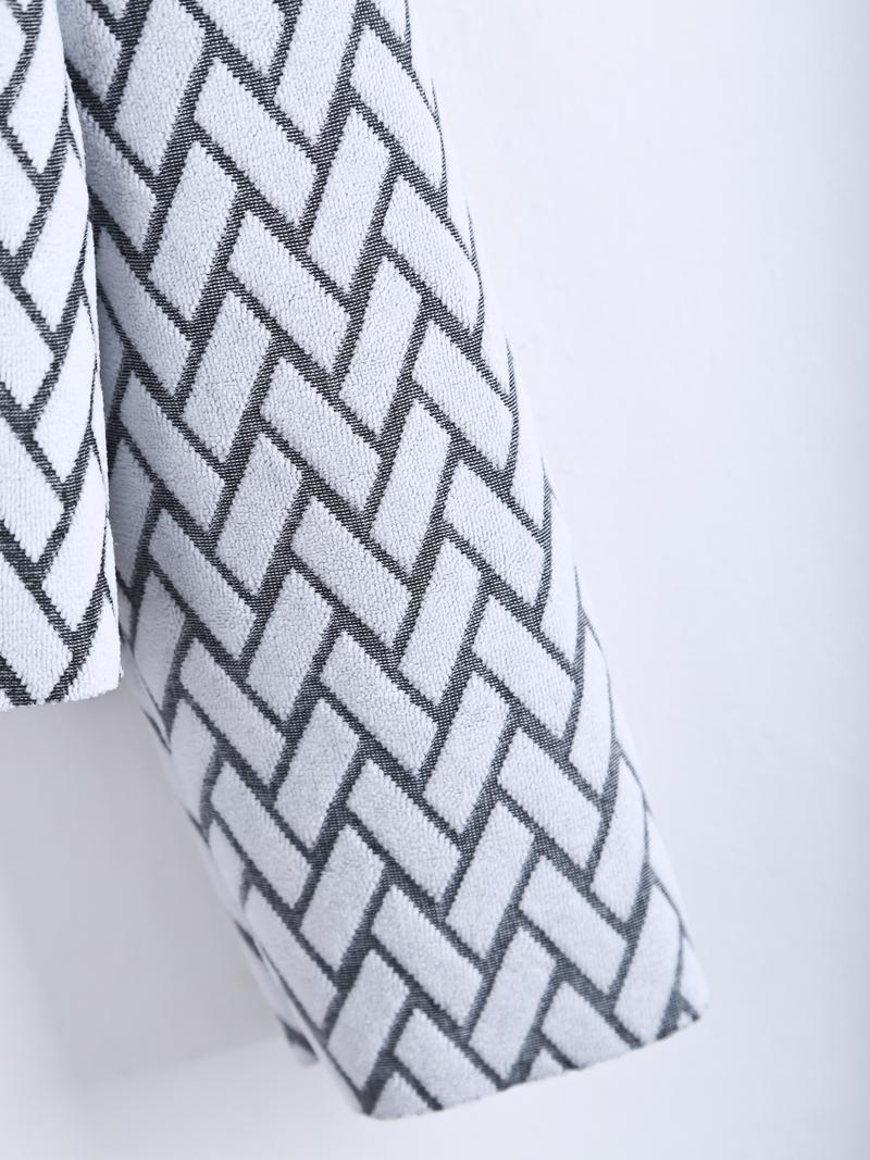 White Long Sleeve Geometric Pattern Crop Blouse - Sheinside.com