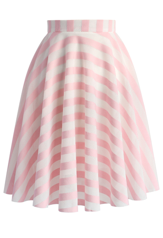skirt candy sweet stripes skirt in pink chicwish pink skirt summer skirt chicwish.com