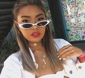 sunglasses,sunnies,white,white sunglasses,glasses,cat eye,cat-eyed sunglasses,thin sunglasses,skinny sunglasses,tiny sunglasses,small sunglasses,accessories,Accessory,trendy