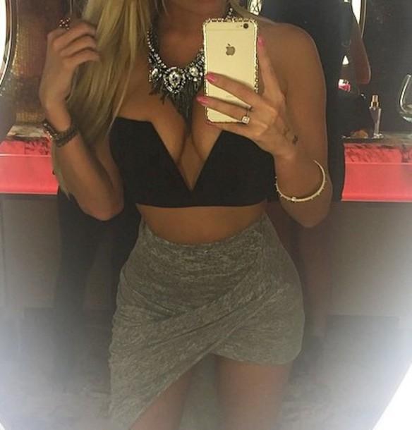 skirt black bralette bralet top corset bra bralet top black dress grey skirt bodycon dress bodycon skirt shirt asymmetrical asymmetrical skirt high low high-low dresses high low skirt