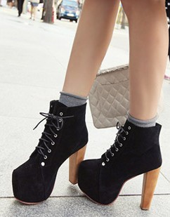 Free Shippingblack Faux Suede Lace Up Vintage Wooden High Heel Platform New Arrivals Ankle Bootsus 5 85womensladies Shoes In Boots From Shoes On