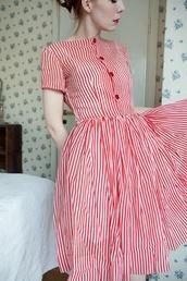 dress,bars,red,white,vintage,retro