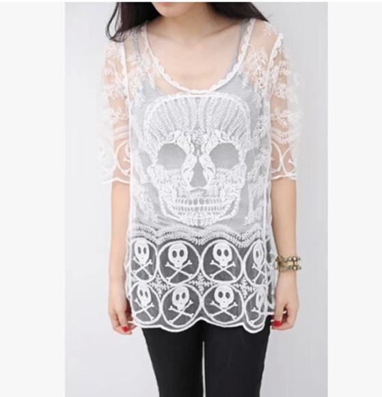 skull white top top lace top