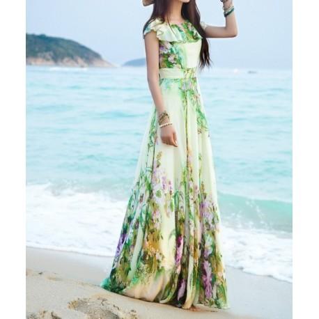 Light Yellow Chiffon women dress lml2003 - lol-malls - Trustful Online Shopping for Women Dresses