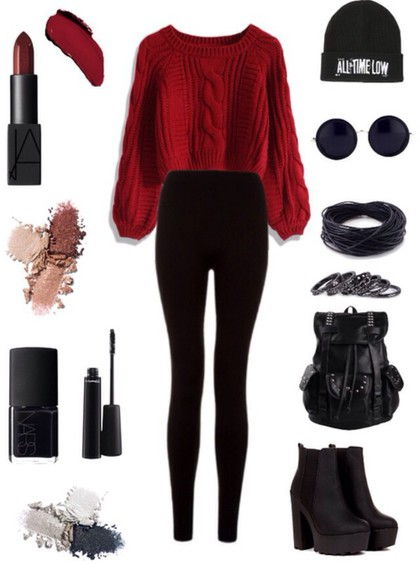 leggings style black cardigan sweater red sweater red grunge shoes grunge beanie
