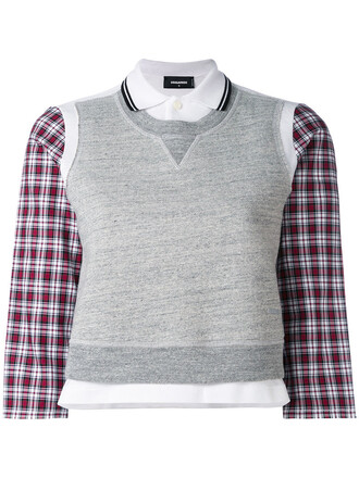 shirt top vest top women cotton grey