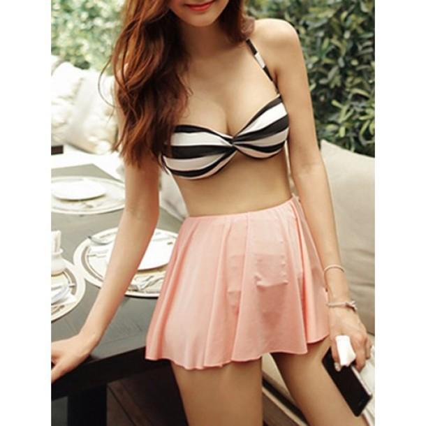 swimwear bikini cute stripes girly fashion summer beach rose wholesale-ap