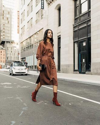 dress brown dress tumblr midi dress brown boots ankle boots sock boots