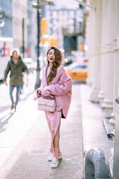 not jess fashion,blogger,jacket,sweater,skirt,bag,shoes,socks,sunglasses,slip dress,pink jacket,all pink everything