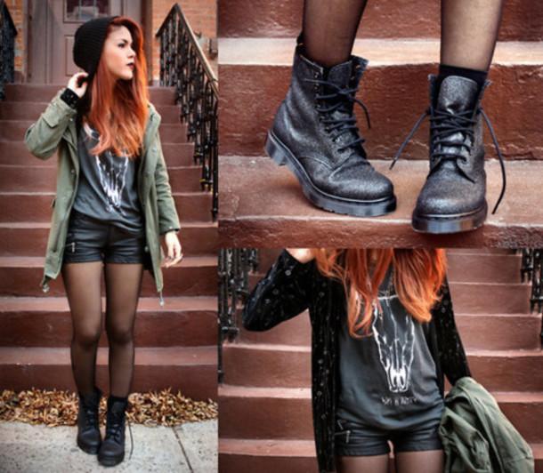 shorts black leather jacket coat khaki coat black black combat boots grey t shirt