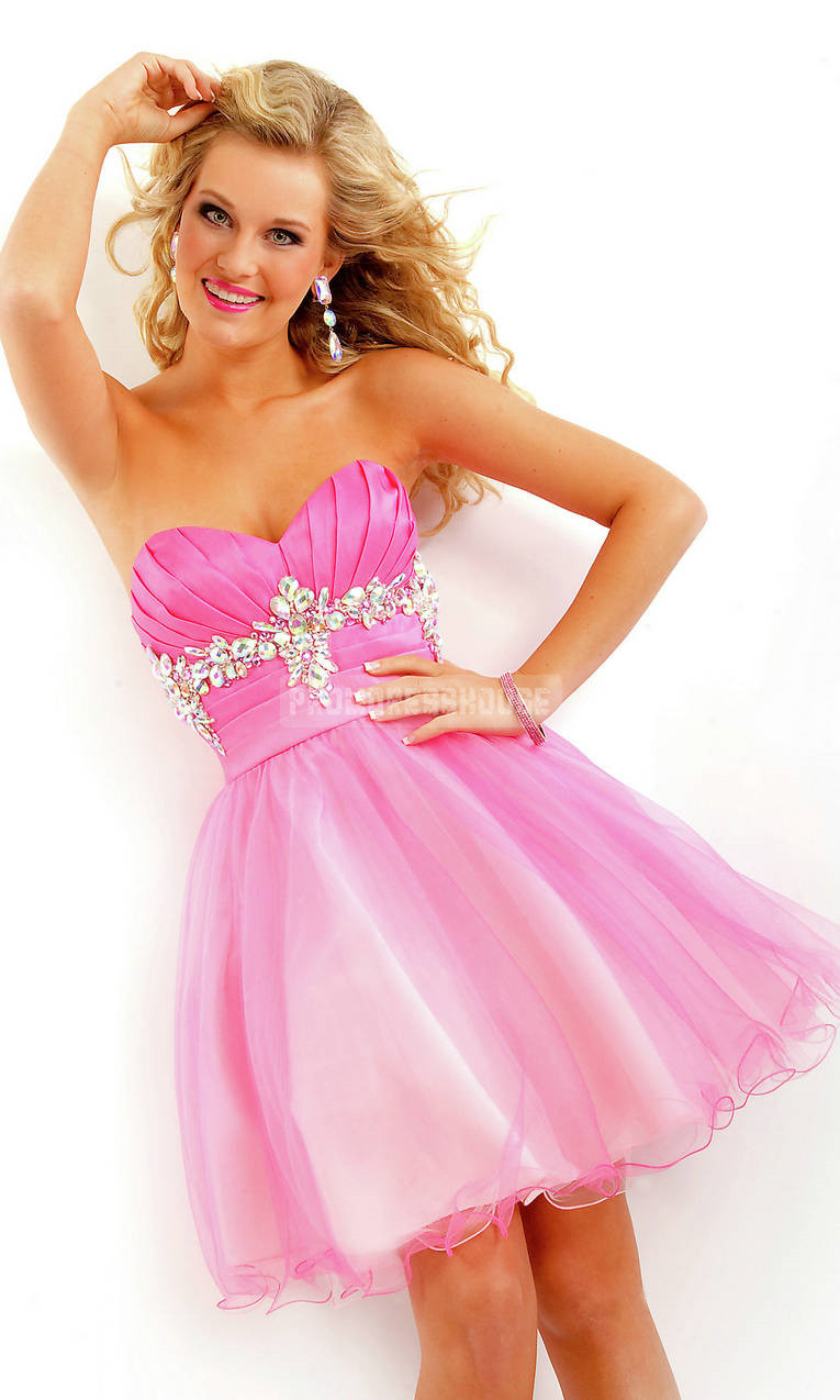Baby Doll Tulle Sweetheart Rhinestone Short Length Pink Prom Dress - Promdresshouse.com