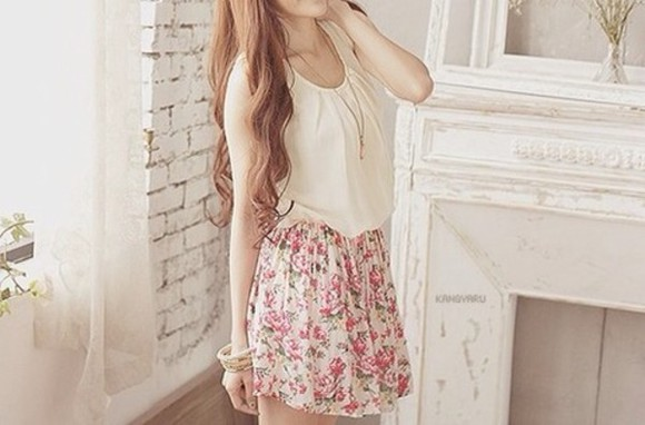 shirt white tank top skirt blouse
