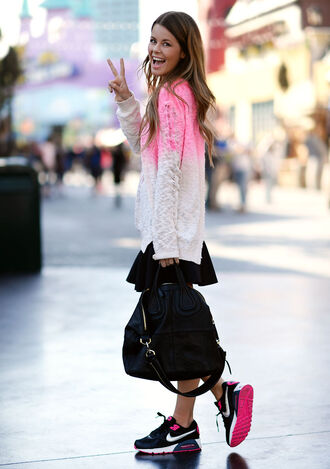 sweater white clothes knitwear pink nike smile ombre