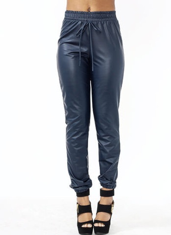 Navy Faux Leather Joggers (drawstring pants, faux leather, joggers, navy joggers, vegan leather)   Bottoms   Jaydes Boutique