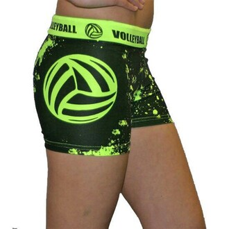 shorts volleyball spandex glow in the dark sportswear blackandgreen splatter vball tightfit fitness