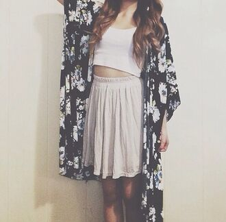 shirt cardigan black and white kimono crop too crop tops blouse cute black long floral flowers white skirt