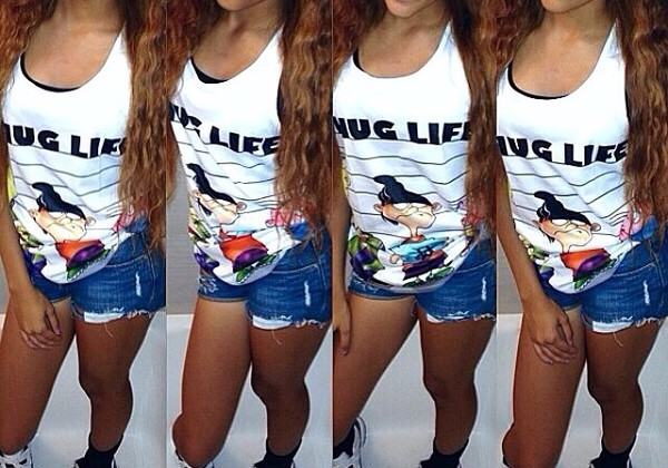 thug life tank top white