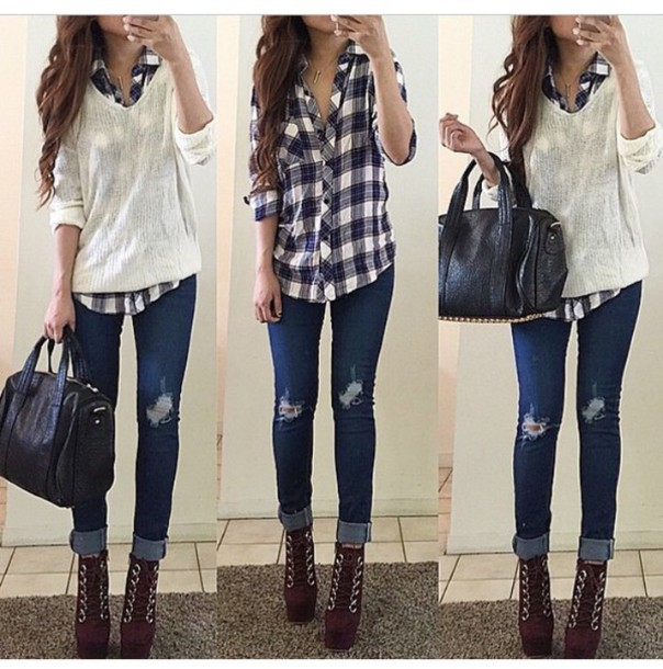 Sweater plaid shirt skinny jeans shoes jeans blouse for Flannel shirt and jeans