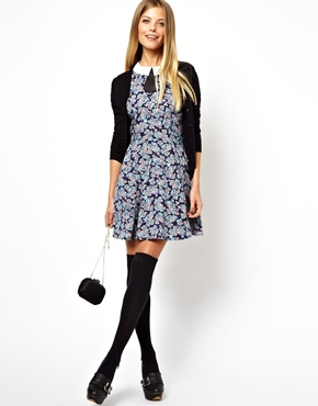 ASOS | ASOS Skater Dress With Contrast Collar In Floral at ASOS