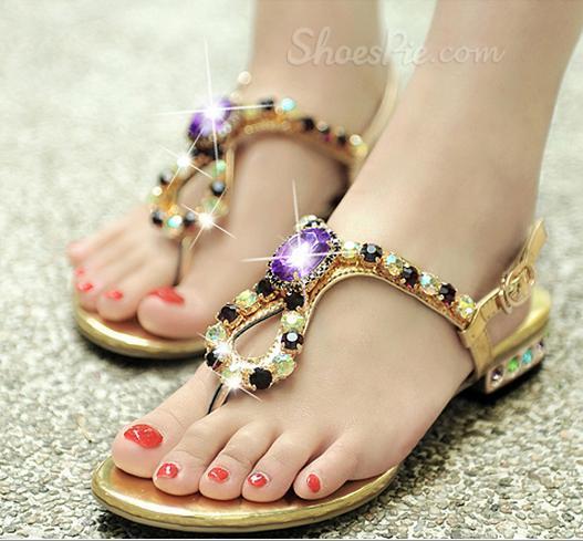 Gorgeous Rhinestone Flat Heel Sandals
