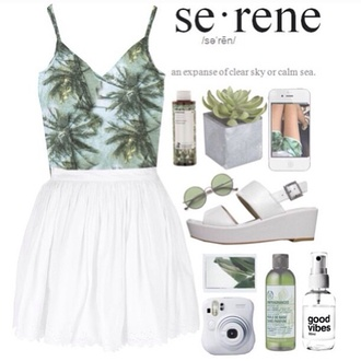 shirt tropical palm tree print tumblr tumblr girl cute black white skirt accessories shoes sunglasses jewels