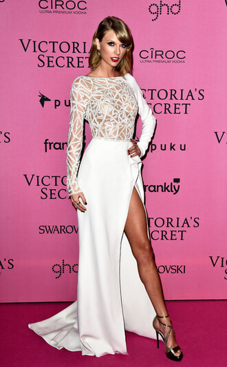 dress taylor swift victoria's secret prom dress wedding dress gown shoes white dress classy girly celebirty taylor swift dress white prom dress party dress