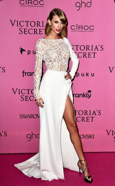 dress taylor swift victoria's secret prom dress wedding dress gown shoes white dress classy girly fashion celebrities in white celebirty taylor swift dress white prom dress party dress