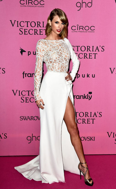dress taylor swift victoria's secret prom dress wedding dress gown shoes white dress classy girly fashion celebrities in white white prom dress party dress