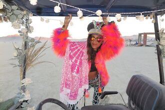 coat fur coat pink coat scarf round towel sunglasses mirrored sunglasses hat burning man burning man clothing burning man costume festival music festival leggings printed leggings
