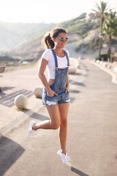 blogger,romper,shorts,denim,overalls,jeans,top,jumpsuit,dungarees,denim overalls,short overalls,white crop tops,white sneakers,wayfarer,lovely pepa,90s style,denim dungarees,shirt,crop tops,white top,shoes,white shoes,cute outfits,bag