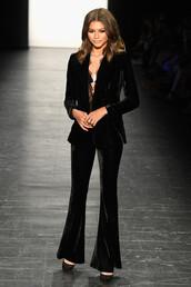 pants,blazer,zendaya,black,suit,velvet,NY Fashion Week 2016,flare velvet pants