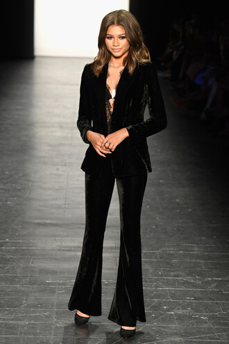 pants blazer zendaya black suit velvet ny fashion week 2016 flare velvet pants