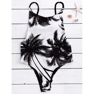 swimwear fashion style white black beach summer black and white one piece swimsuit palm tree print trendsgal.com
