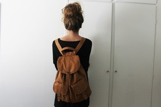 bag leather bag tumblr backpack vintage leather backpack hipster brown shoes