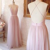 dress,aline,plunge v neck,v neck,a line,tulle skirt,prom dress,bridesmaid,long dress,light pink,pink,fashion,womens fashion,womens dress,prom