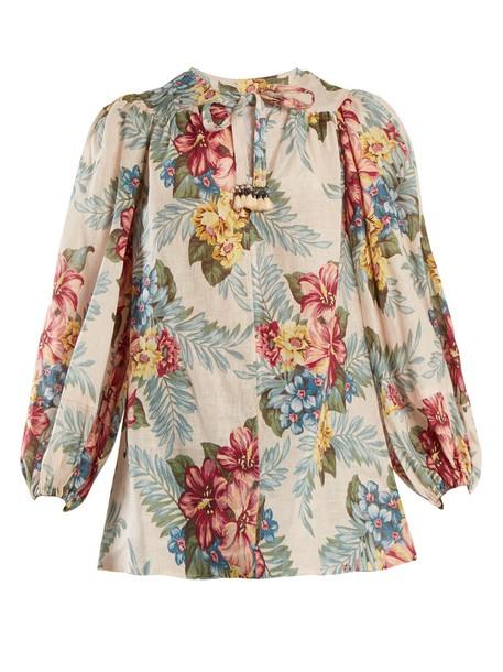 Zimmermann shirt floral print blue top