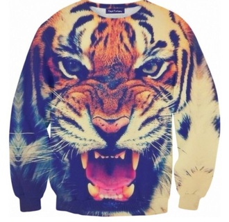 sweater tiger face animal print sweatshirt