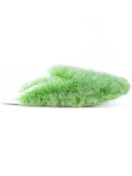 fur women fluffy slippers leather green shoes