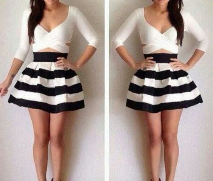 Cute grain two piece hot dress