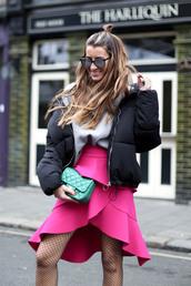 skirt,hun,tumblr,pink skirt,asymmetrical,wrap skirt,tights,net tights,fishnet tights,mini skirt,bag,green bag,jacket,black jacket,puffer jacket,sweater,grey sweater,hairstyles,sunglasses,mirrored sunglasses