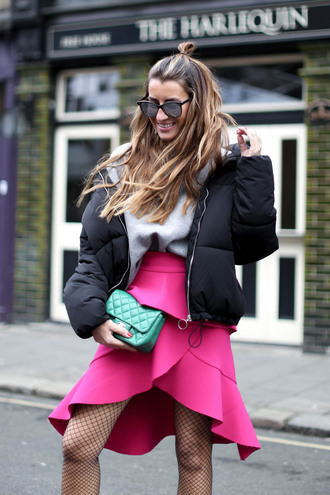 skirt hun tumblr pink skirt asymmetrical wrap skirt tights net tights fishnet tights mini skirt bag green bag jacket black jacket puffer jacket sweater grey sweater hairstyles sunglasses mirrored sunglasses