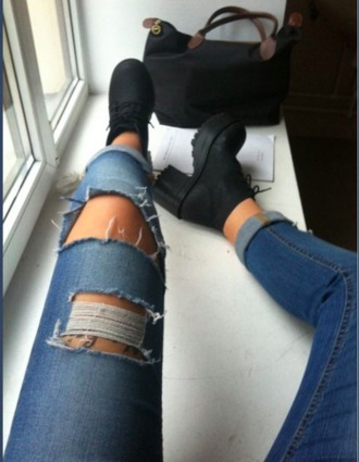jeans combat boots shoes mid heel boots