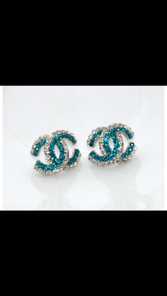 teal jewels chanel white stud earrings